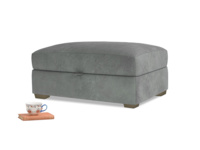 Bumper Storage Footstool in Faded Charcoal beaten leather