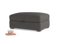 Bumper Storage Footstool in Old Charcoal brushed cotton