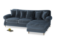 XL Right Hand  Crumpet Chaise Sofa in Liquorice Blue clever velvet