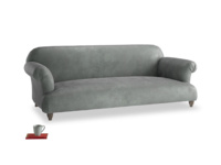 Large Soufflé Sofa in Faded Charcoal beaten leather