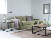 Contemporary and very comfortable L shaped Pavilion Chaise sofa in Pistachio washed linen