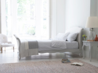 Antoinette french antique style upholstered sleigh bed painted in Scuffed Grey