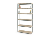 Solid wood industrial style High Five wooden shelving unit