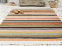 Striped woven handmade herringbone striped Tuppence rug