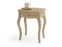 Mimi bedside table has a lovely weathered reclaimed oak finish and a french antique inspired curved shape