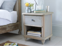Grey painted Polder vintage style wooden bedside table