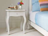 Mimi French style elegant curved leg bedside table in wood painted in scuffed grey