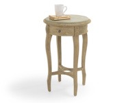 Bella bedside table is handmade from solid weathered oak with elegant curved legs in a French style