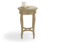 Weathered oak French style round Bella bedside table with handy little drawer