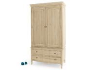 Classic wooden French vintage style Pascale wardrobe handmade from solid weathered oak