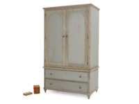 Grey painted Haybarn wardrobe with storage drawers