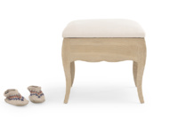 Louise oak dressing table stool with upholstered seat cushion and storage space