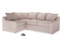 Large Left Hand Cloud Corner Sofa in Faded Pink brushed cotton