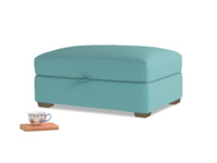 Bumper Storage Footstool in Peacock brushed cotton