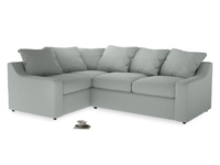 Large Left Hand Cloud Corner Sofa in French blue brushed cotton