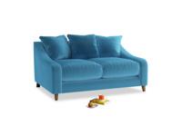 Small Oscar Sofa in Teal Blue plush velvet