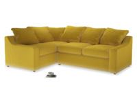 Large left hand Cloud Corner Sofa Bed in Bumblebee clever velvet