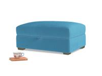 Bumper Storage Footstool in Teal Blue plush velvet