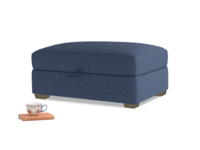 Bumper Storage Footstool in Navy blue brushed cotton