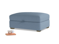 Bumper Storage Footstool in Nordic blue brushed cotton