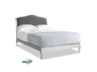 Double Coco Bed in Scuffed Grey in Steel clever velvet