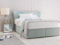 Contemporary storage divan bed with retro Smoke headboard