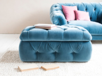 Upholstered Stasher buttoned chesterfield storage footstool