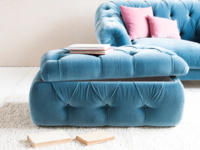 Upholstered buttoned chesterfield Stasher storage footstool