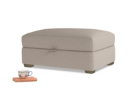 Bumper Storage Footstool in Driftwood brushed cotton