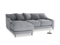 Large left hand Oscar Chaise Sofa in Dove grey wool
