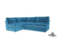 Large left hand Chatnap modular corner sofa bed in Teal Blue plush velvet