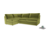 Large left hand Chatnap modular corner sofa bed in Olive plush velvet