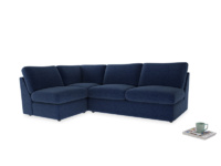 Large left hand Chatnap modular corner sofa bed in Ink Blue wool