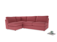 Large left hand Chatnap modular corner sofa bed in Raspberry brushed cotton