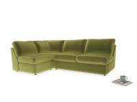 Large left hand Chatnap modular corner storage sofa in Olive plush velvet