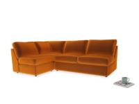 Large left hand Chatnap modular corner storage sofa in Spiced Orange clever velvet