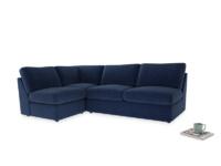 Large left hand Chatnap modular corner storage sofa in Ink Blue wool