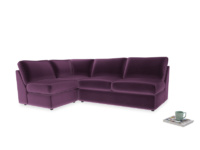 Large left hand Chatnap modular corner storage sofa in Grape clever velvet