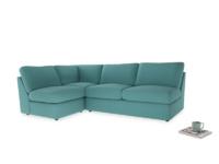Large left hand Chatnap modular corner storage sofa in Peacock brushed cotton