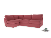 Large left hand Chatnap modular corner storage sofa in Raspberry brushed cotton
