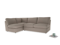 Large left hand Chatnap modular corner storage sofa in Driftwood brushed cotton
