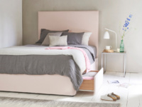 Tight Space storage contemporary upholstered bed