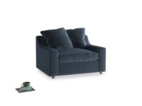 Cloud love seat sofa bed in Liquorice Blue clever velvet
