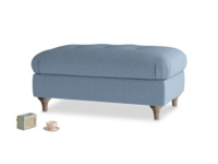 Rectangle Jammy Dodger Footstool in Nordic blue brushed cotton