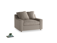 Cloud love seat sofa bed in Driftwood brushed cotton