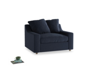Cloud love seat sofa bed in Indigo vintage linen