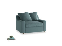 Cloud love seat sofa bed in Marine washed cotton linen