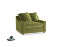 Cloud love seat sofa bed in Olive plush velvet