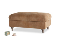 Rectangle Jammy Dodger Footstool in Walnut beaten leather