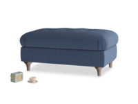 Rectangle Jammy Dodger Footstool in Navy blue brushed cotton